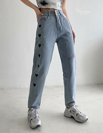 Fashion Blue Love Embroidered Ripped Denim Trousers