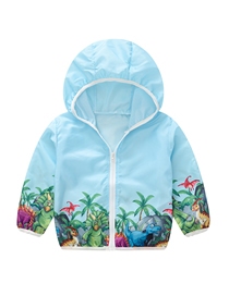 Fashion Blue Dinosaur Children's Flower Dinosaur Print Hooded Sunscreen Clothing