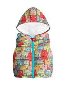 Fashion Color Cartoon Children's Printed Hooded Sleeveless Vest