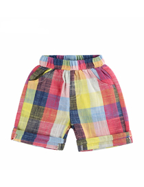 Fashion Color Grid Children's Color Plaid Cotton And Linen Shorts