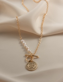 Fashion Gold Color Pearl Portrait T-shaped Buckle Necklace
