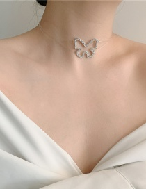Fashion White Fishing Line Full Of Diamond Butterfly Necklace