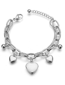 Fashion Steel Color Love Can Be Engraved Stainless Steel Bracelet