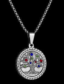 Fashion Steel Color Tree Of Life Colorful Diamond Necklace