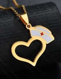 Fashion Gold Color Nurse Hat Hollow Dripping Oil Love Necklace