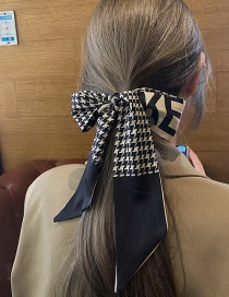 Fashion Houndstooth Black Houndstooth Print Long Narrow Scarf Headband