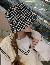 Fashion Black And White Grid Sun Protection Lattice Fisherman Hat