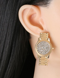 Fashion Gold+white Watch Diamond Earrings