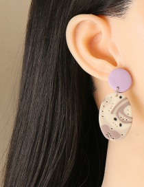 Fashion Purple Acrylic Sheet Geometric Round Earrings