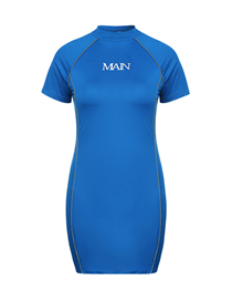 Fashion Blue Pure Color Short-sleeved Knitted Dress