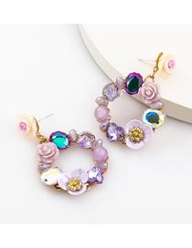 Fashion Purple Color Acrylic Diamond Resin Flower Earrings