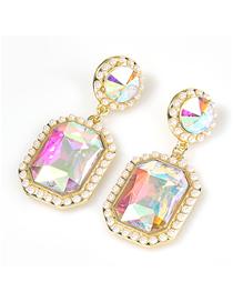 Fashion Ab Color Square Alloy Diamond And Colorful Acrylic Geometric Earrings