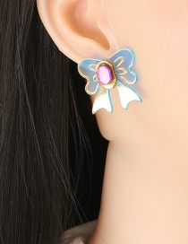 Fashion Blue Acrylic Bow Earrings