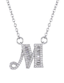 Fashion M English Letter A-z Adjustable Necklace
