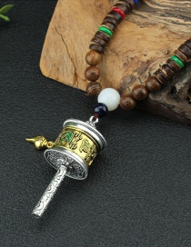Fashion Rotatable Warp Beam Wooden Bead Chain Rotating Tibetan Six-character Mantra Prayer Cylinder Necklace