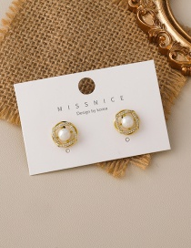 Fashion Gold Color Cross Pearl Earrings