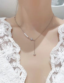 Fashion Silver Color Eight Pointed Star Pearl Necklace