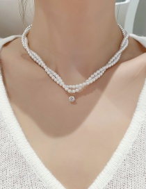 Fashion White Pearl Double-wrapped Pearl Necklace
