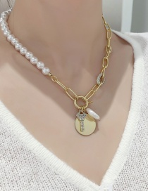 Fashion Gold Color Pearl Rhinestone Chain Medallion Necklace
