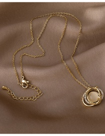 Fashion Gold Color Double Round Opal Planet Necklace