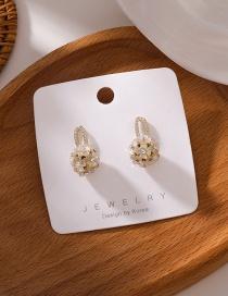 Fashion Gold Color Shell Flower Ball Earrings