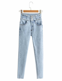 Fashion Blue High-rise Stretch-wrapped Jeans