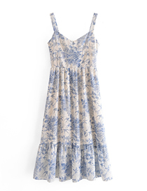 Fashion Color Mixing Floral Swallow Print Dress