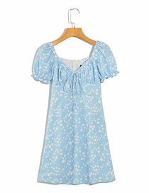 Fashion Blue Floral Print Short-sleeved Lace-up Dress