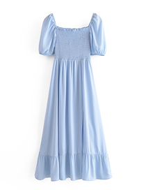 Fashion Blue Solid Color Square Neck Puff Sleeve Dress