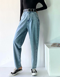 Fashion Blue High-waisted Trousers With Belt