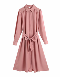 Fashion Leather Pink Pure Color Silk Satin Dress