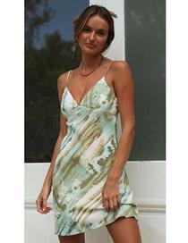 Fashion Green Tie-dye Printed Forged Chiffon Dress