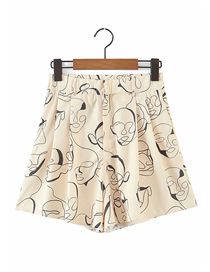 Fashion Khaki Geometric Print Shorts