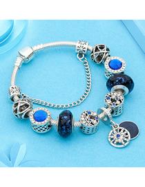 Fashion Blue Glass Bead Starry Ball Bracelet