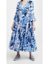 Fashion Color V-neck Printed 3/4 Sleeve Dress