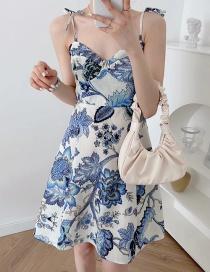 Fashion Color Printed Suspender Dress