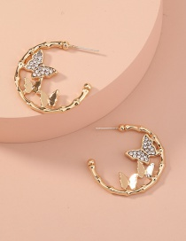 Fashion Gold Color C-shaped Diamond Multi-butterfly Earrings