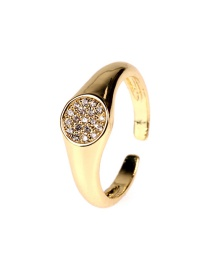 Fashion Gold Color Circle Copper Gold-plated Micro-inlaid Zircon Open Ring