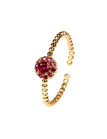 Fashion Rose Red Twisted Zircon Flower Ring