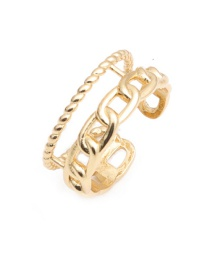 Fashion Gold Color Twisted Mesh Openwork Woven Open Ring