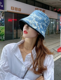 Fashion Light Blue Double-sided Star Graffiti Fisherman Hat