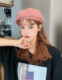 Fashion Brick Red Striped Beret
