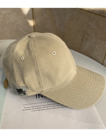 Fashion Beige Patch Soft Top Baseball Cap