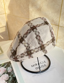 Fashion Beige Tartan Jazz Hat