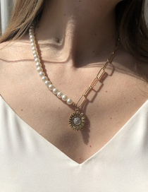 Fashion Gold Color Pearl Sunflower Chain Necklace