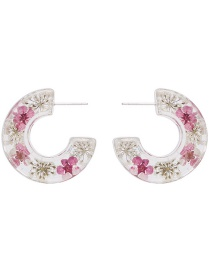 Fashion Pink Transparent Resin C-shaped Flower Earrings