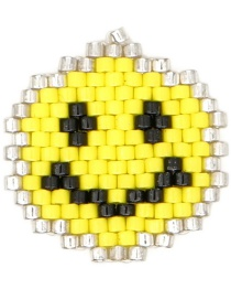 Fashion Color Contrast Woven Emoji Pendant