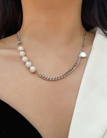 Fashion White K Pearl Love Cross Necklace