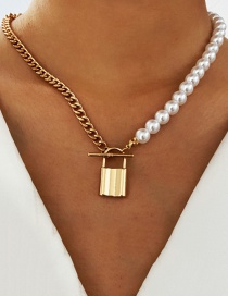 Fashion Kc Gold Pearl Metal Lock Pendant Necklace