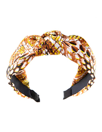 Fashion Brown Snake Print Knotted Check Headband